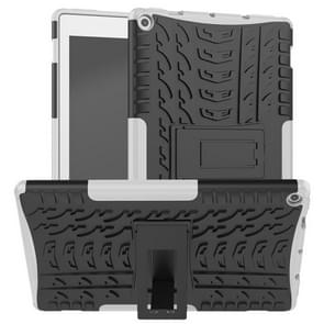 For Amazon Kindle Fire HD 10 2019 Tire Texture TPU + PC Shockproof Case with Holder(White)