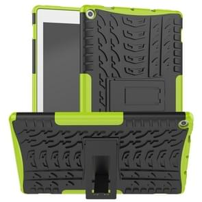 For Amazon Kindle Fire HD 10 2019 Tire Texture TPU + PC Shockproof Case with Holder(Green)
