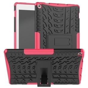 For Amazon Kindle Fire HD 10 2019 Tire Texture TPU + PC Shockproof Case with Holder(Pink)