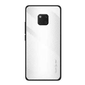 For Huawei Mate 20 Pro  Texture Gradient Glass Protective Case(White)