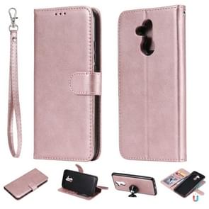 For Huawei Mate 20 Lite Solid Color Horizontal Flip Protective Case with Holder & Card Slots & Wallet & Photo Frame & Lanyard(Rose Gold)