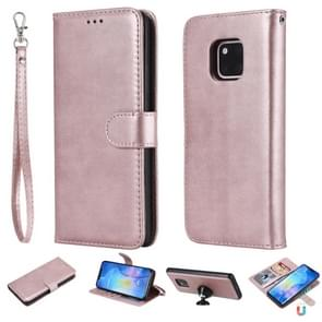 For Huawei Mate 20 Pro Solid Color Horizontal Flip Protective Case with Holder & Card Slots & Wallet & Photo Frame & Lanyard(Rose Gold)