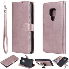 For Huawei Mate 20 Solid Color Horizontal Flip Protective Case with Holder & Card Slots & Wallet & Photo Frame & Lanyard(Rose Gold)