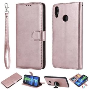 For Huawei Honor 8X Solid Color Horizontal Flip Protective Case with Holder & Card Slots & Wallet & Photo Frame & Lanyard(Rose Gold)