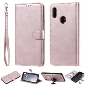 For Huawei Honor 8A / Y6 (2019) Solid Color Horizontal Flip Protective Case with Holder & Card Slots & Wallet & Photo Frame & Lanyard(Rose Gold)