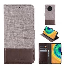 Voor Huawei mate 30 MUMXA MX102 horizontale Flip canvas stiksels lederen draagtas met houder & kaartsleuven & portemonnee (bruin)