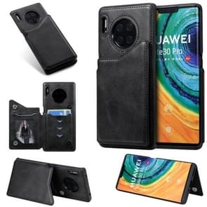 For Huawei Mate30 Pro Solid Color Calf Texture Shockproof Protective Case with Card Slots & Photo Frame(Black)