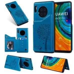 Voor Huawei Mate30 Pro kat boom reliëf patroon schokbestendige beschermhoes met kaartsleuven & fotolijstjes (blauw)
