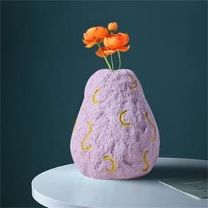 Cute Fruit Plant Shape Creative Nordic Style Resin Frosted Vase, Style:Pink Purple Pear