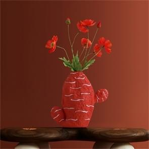 Cute Fruit Plant Shape Creative Nordic Style Resin Frosted Vase, Style:Orange-red Cactus