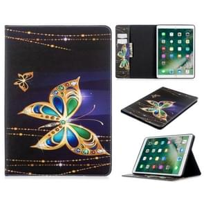 For iPad 10.5 inch Colored Drawing Pattern Horizontal Flip PU Leather Case with Holder & Card Slots & Wallet(Big Butterfly)