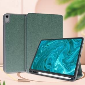 Voor iPad 9 7 Mutural exquise serie doek textuur PU + TPU lederen draagtas met 3-voudige houder & Pensleuf & slaap & Wake-up functie (groen)