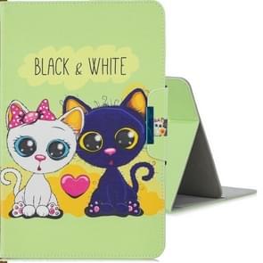 Voor 8 inch Tablet PC universele gekleurde tekening horizontale Flip PU lederen draagtas met houder & kaartsleuf (zwart en WhiteCat)