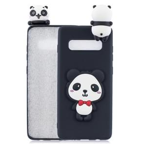 For Galaxy S10+ 3D Cartoon Pattern Shockproof TPU Protective Case(Red Bow Panda)