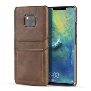 Voor Huawei Mate 20 Pro Calf Texture PU + PC Protective Case with Card Slots(Coffee)