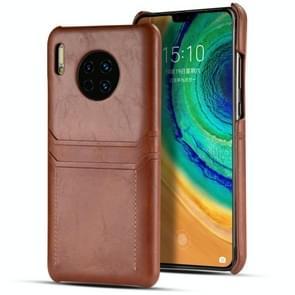 Voor Huawei mate 30 Pro kalf textuur PU + PC beschermhoes met kaartsleuven (bruin)
