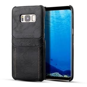 Voor Galaxy S8 Calf Texture PU + PC Beschermhoes met kaartsleuven (Zwart)