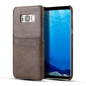 Voor Galaxy S8 Calf Texture PU + PC Beschermhoes met kaartsleuven(Koffie)