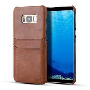 Voor Galaxy S8 kalf textuur PU + PC beschermhoes met kaartsleuven (bruin)