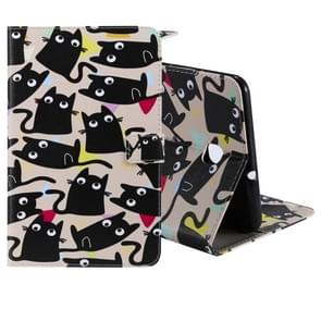 For Galaxy Tab A 8.0 (2018) T387 Colored Drawing Pattern Horizontal Flip PU Leather Case with Holder & Card Slots & Wallet(Little Cat)