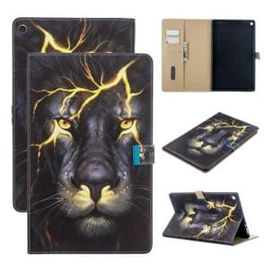 For Amazon Kindle Fire HD 10 2017 Colored Drawing Pattern Horizontal Flip Leather Case with Holder & Card Slots & Wallet(Lion)
