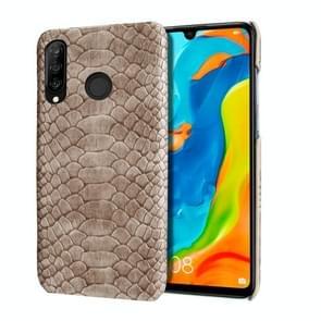 Voor Huawei P30 Lite slangenhuid textuur PC + PU geval (grijs)