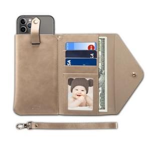 Voor 6,5 inch en onder multifunctionele telefoon retro Frosted horizontale Flip lederen draagtas met kaartsleuf & houder & portemonnee & foto frame & Lanyard (kaki)