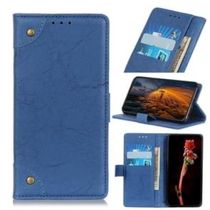 For Galaxy A21 Copper Buckle Retro Crazy Horse Texture Horizontal Flip Leather Case with Holder & Card Slots & Wallet(Blue)
