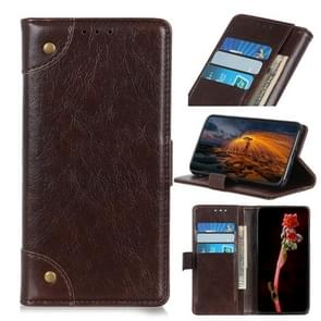 Voor Galaxy A21 Copper Buckle Nappa Texture Horizontal Flip Leather Case met Holder & Card Slots & Wallet(Coffee)