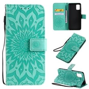 For Galaxy A51 Sun Print Horizontal Flip Protective Case with Holder & Card Slots & Wallet(Green)