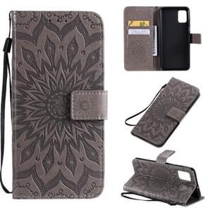 Voor Galaxy A51 Sun Print Horizontale Flip Beschermhoes met Houder & Card Slots & Wallet(Grijs)