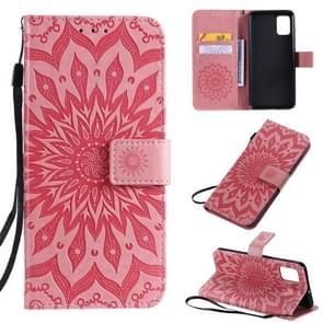 Voor Galaxy A51 Sun Print Horizontale Flip Beschermhoes met Holder & Card Slots & Wallet(Pink)