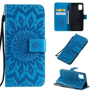 For Galaxy A51 Sun Print Horizontal Flip Protective Case with Holder & Card Slots & Wallet(Blue)