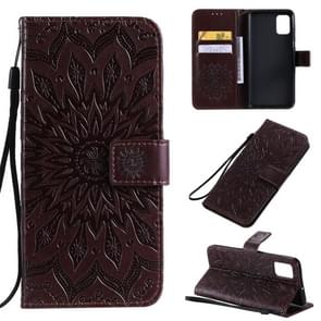 For Galaxy A51 Sun Print Horizontal Flip Protective Case with Holder & Card Slots & Wallet(Brown)