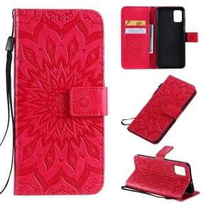Voor Galaxy A51 Sun Print Horizontale Flip Beschermhoes met Houder & Card Slots & Wallet(Red)