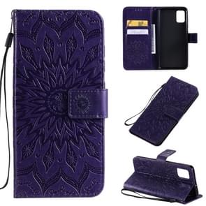 Voor Galaxy A51 Sun Print Horizontale Flip Beschermhoes met Holder & Card Slots & Wallet(Purple)
