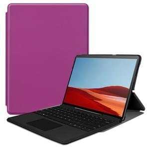 For Microsoft Surface Pro X Custer Texture Horizontal Flip PU Leather Case, with Holder(Purple)