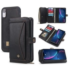 For iPhone XR POLA Multi-function TPU + PC Magnetic Horizontal Flip Leather Case with Holder & Card Slots & Wallet & Photo Frame(Black)