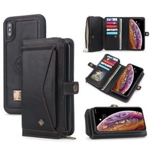 For iPhone X / XS POLA Multi-function TPU + PC Magnetic Horizontal Flip Leather Case with Holder & Card Slots & Wallet & Photo Frame(Black)