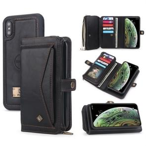 For iPhone XS Max POLA Multi-function TPU + PC Magnetic Horizontal Flip Leather Case with Holder & Card Slots & Wallet & Photo Frame(Black)