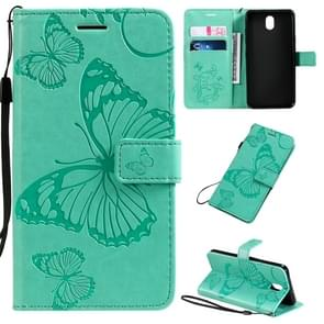 For LG K30 Pressed Printing Butterfly Pattern Horizontal Flip PU Leather Case with Holder & Card Slots & Wallet & Lanyard(Green)