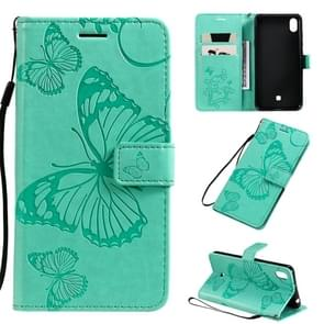 For LG K40s Pressed Printing Butterfly Pattern Horizontal Flip PU Leather Case with Holder & Card Slots & Wallet & Lanyard(Green)