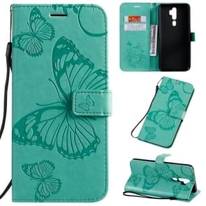 For OPPO A5 Pressed Printing Butterfly Pattern Horizontal Flip PU Leather Case with Holder & Card Slots & Wallet & Lanyard(Green)