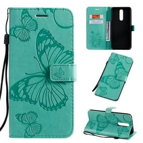 For OPPO F11 Pressed Printing Butterfly Pattern Horizontal Flip PU Leather Case with Holder & Card Slots & Wallet & Lanyard(Green)