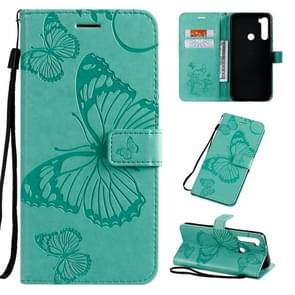 For Xiaomi Redmi Note 8T Pressed Printing Butterfly Pattern Horizontal Flip PU Leather Case with Holder & Card Slots & Wallet & Lanyard(Green)