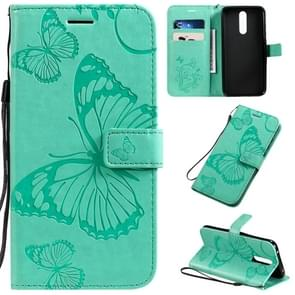 For  Xiaomi Redmi 8 Pressed Printing Butterfly Pattern Horizontal Flip PU Leather Case with Holder & Card Slots & Wallet & Lanyard(Green)