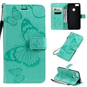 For Motorola E6 Play Pressed Printing Butterfly Pattern Horizontal Flip PU Leather Case with Holder & Card Slots & Wallet & Lanyard(Green)
