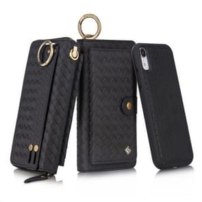 For iPhone XR POLA Multi-function Fashion Weave Magnetic Horizontal Flip Leather Case with Card Slots & Wallet & Photo Frame & Lanyard(Black)