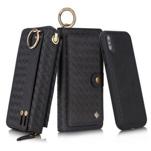 For iPhone XS POLA Multi-function Fashion Weave Magnetic Horizontal Flip Leather Case with Card Slots & Wallet & Photo Frame & Lanyard(Black)