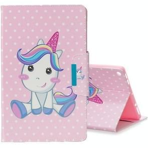 Voor Amazon Kindle Fire HD8 gekleurde tekening patroon horizontale Flip lederen draagtas met houder & Card slot & portemonnee (cute Unicorn)